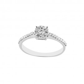 Solitaire woman ring 18 Kt 750/1000 white gold with diamonds Kt 0.33
