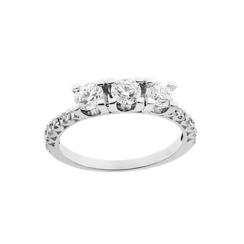 Trilogy woman ring 18 Kt 750/1000 white gold with diamond Kt 1.02 Grama&Mounier