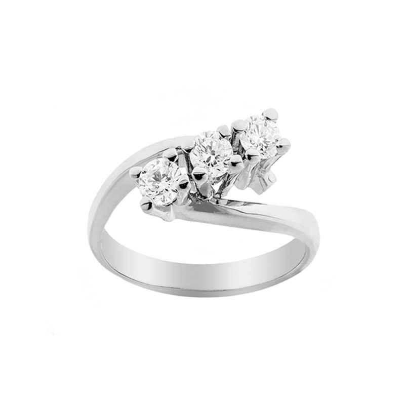 Trilogy woman ring 18 Kt 750/1000 white gold with diamond Kt 0.60 Grama&Mounier