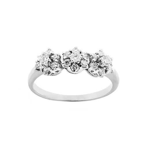 Trilogy in oro bianco 18 Kt 750/1000 con diamanti Kt 0.54 Grama&Mounier