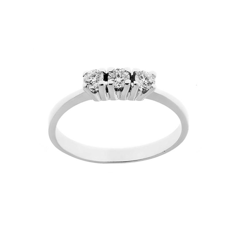 Anello Trilogy in oro bianco 18 Kt 750/1000 con diamanti Kt 0.30 Grama&Mounier