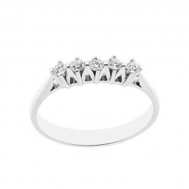 18 Kt 750/1000 white gold ring with diamonds Kt 0.20 Grama&Mounier