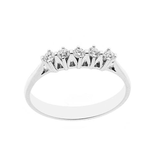 Anello Veretta 5 pietre in oro bianco 18 Kt 750/1000 con diamanti Kt 0.20 Grama&Mounier