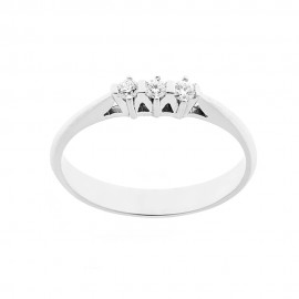 Trilogy woman ring 18 Kt 750/1000 white gold with diamonds Kt 0.12 Grama&Mounier