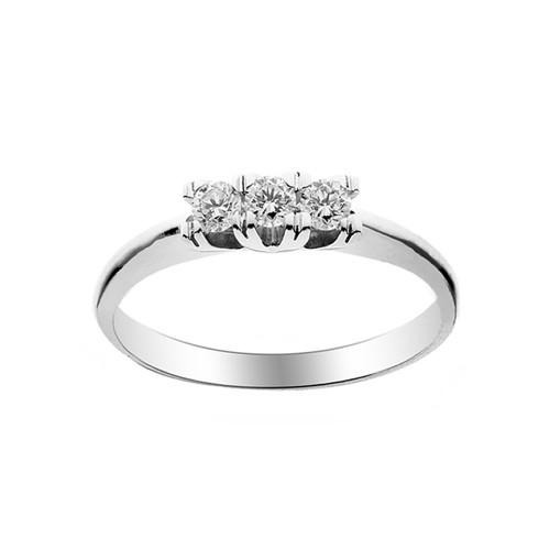 Trilogy in oro bianco 18 Kt 750/1000 con diamanti Kt 0.24 Grama&Mounier