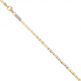 White and yellow solid gold 18k 750/1000 shiny man bracelet
