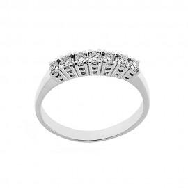 Anello 7 pietre in oro bianco 18 Kt 750/1000 con diamanti Kt 0.21