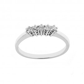 18 Kt 750/1000 white gold 5 stones ring with diamonds Kt 0.25