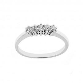 Anello 5 pietre in oro bianco 18 Kt 750/1000 con diamanti Kt 0.25