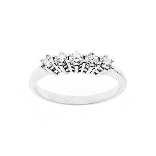 Anello in oro bianco 18 Kt 750/1000 con diamanti Kt 0.45