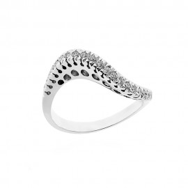 18K 750/1000 white gold riviera ring with diamonds Kt 0.32
