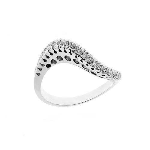 Anello Riviera in oro bianco 18 Kt 750/1000 con diamanti Kt 0.32