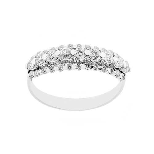 18K 750/1000 white gold riviera ring with diamonds Kt 0.71