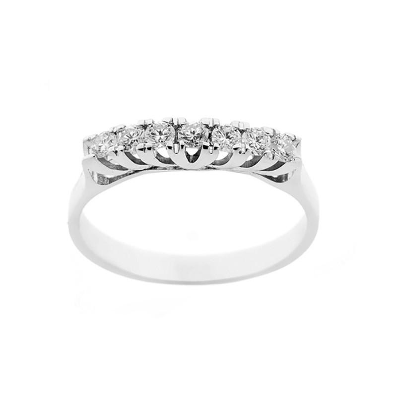 Anello in oro bianco 18 Kt 750/1000 con diamanti Kt 0.35