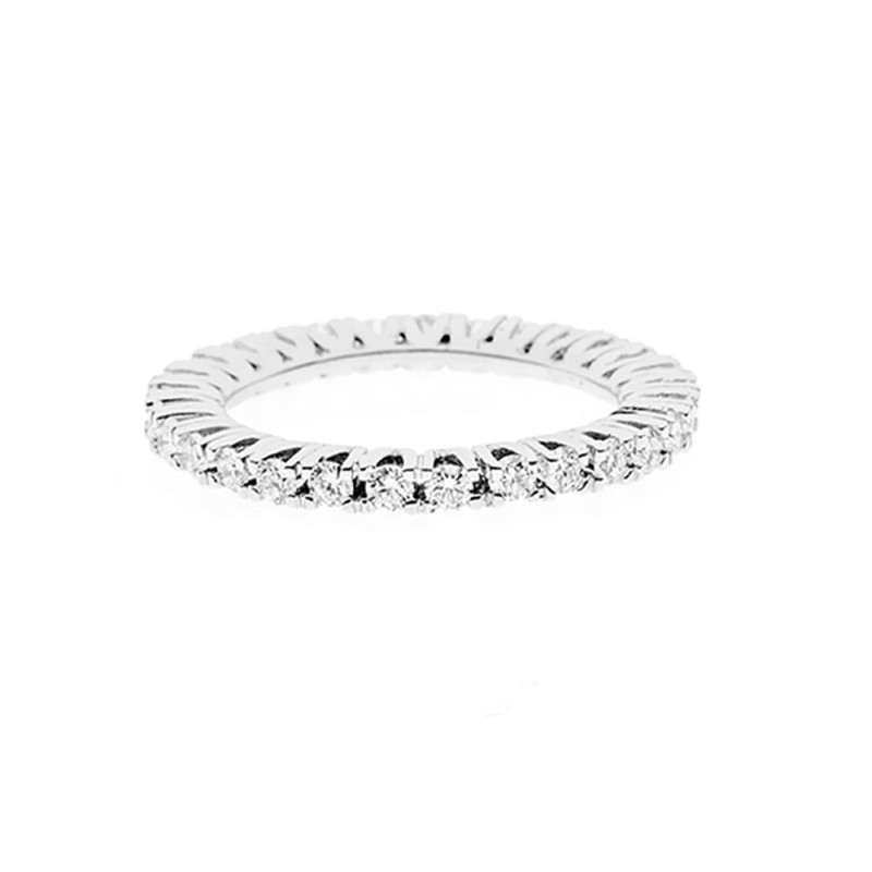 18K 750/1000 white gold veretta ring with diamonds Kt 1.08