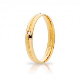 Yellow gold 18Carat wedding ring, diamond Ct 0.02, shiny, Unoaerre Lyra