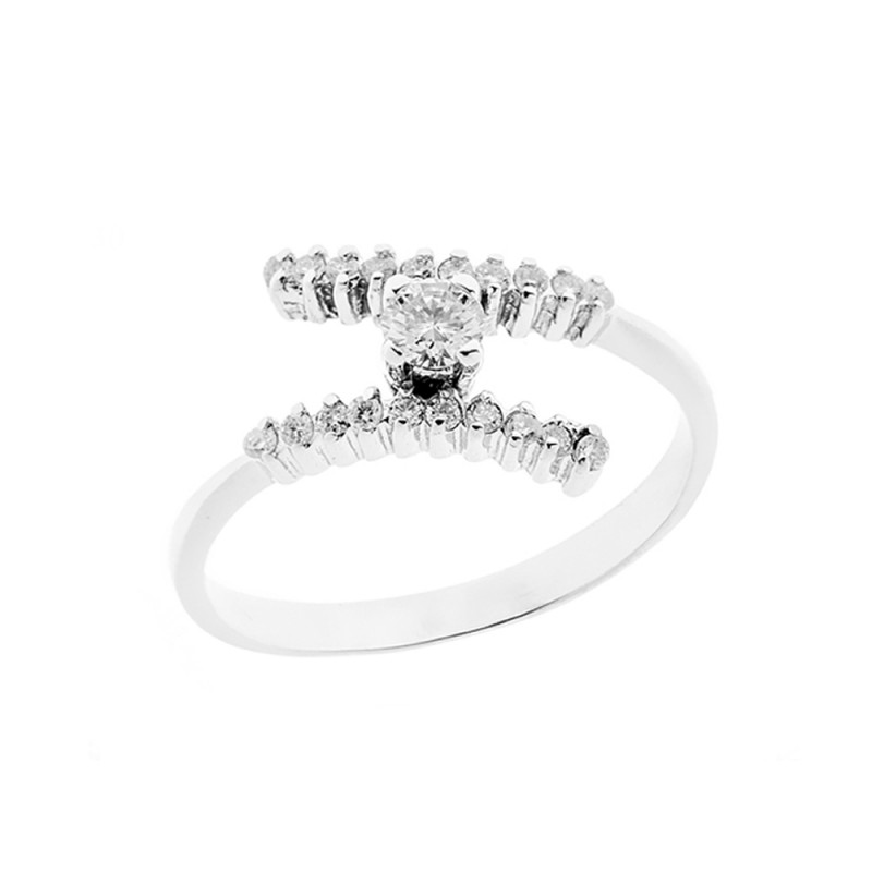 Anello in oro bianco 18 Kt 750/1000 con diamanti Kt 0.30