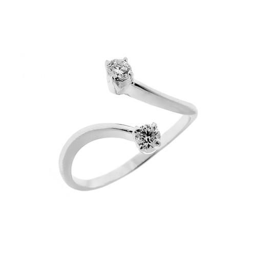 Anello in oro bianco 18 Kt 750/1000 contrarié con diamanti Kt 0.30