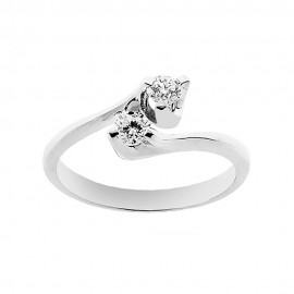 18K 750/1000 white gold contrariè ring with diamonds Kt 0.36