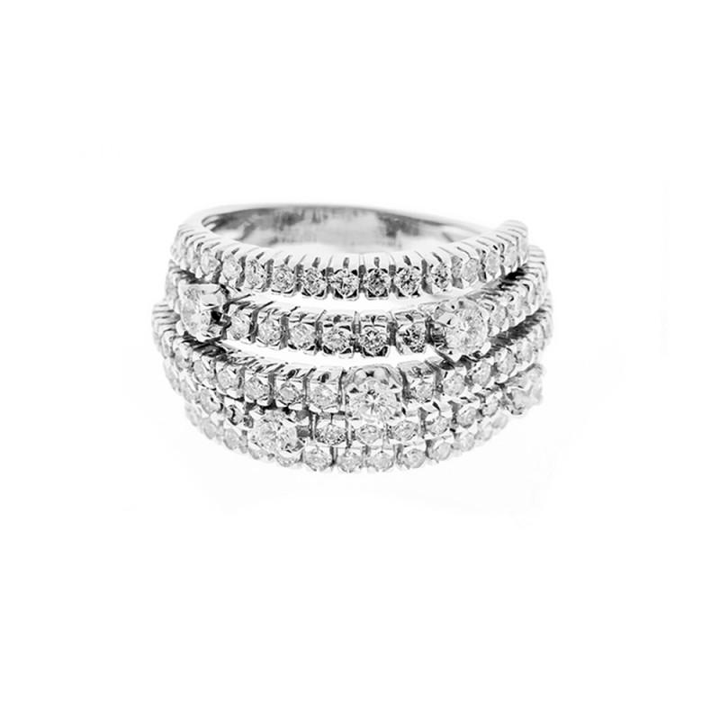 10 In Anello Oro 18 Diamanti 2 Da A Donna Bianco E Fascia Kt rxBoeCd