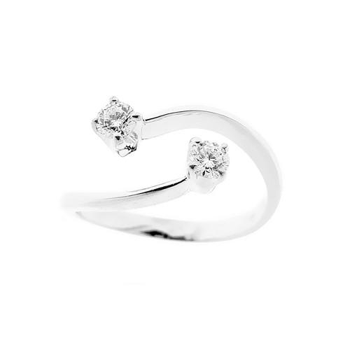 Anello in oro bianco 18 Kt 750/1000 contrarié con diamanti Kt 0.40