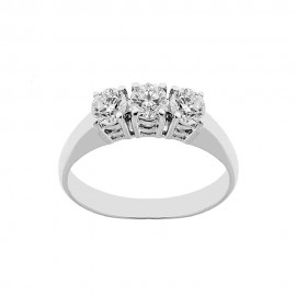 18K 750/1000 white gold trilogy ring with diamonds Kt 0.75