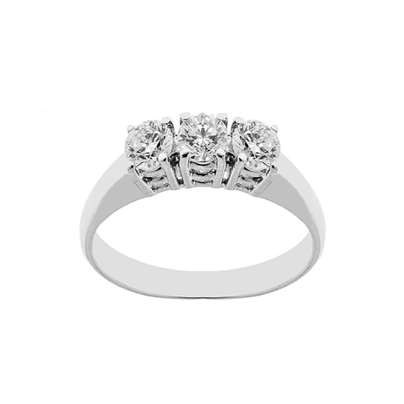 Trilogy in oro bianco 18 Kt 750/1000 con diamanti Kt 0.75