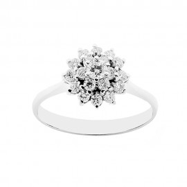 18K 750/1000 white gold woman ring with diamonds Kt 0.46