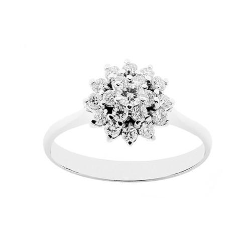 Anello in oro bianco 18 Kt 750/1000 con diamanti Kt 0.46