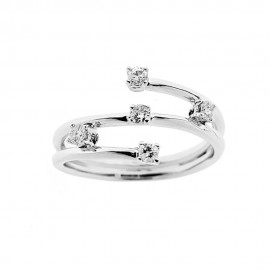 18K 750/1000 white gold woman ring with diamonds Kt 0.25