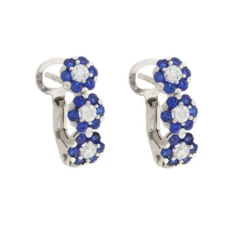 18K White gold earrings, cubic zirconia flowers setting, clip-on