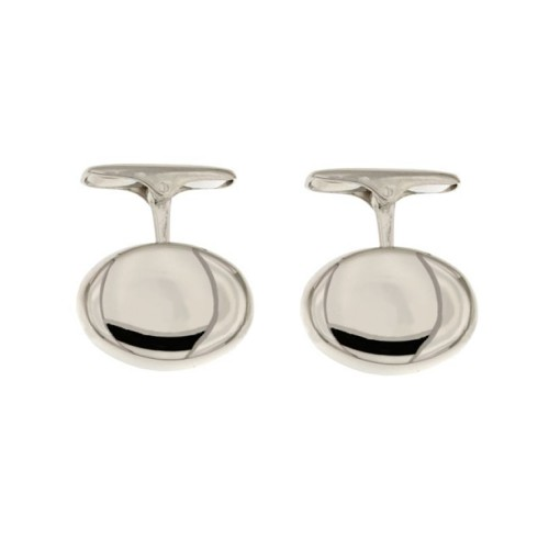 White gold oval cufflinks, polished - whale backing