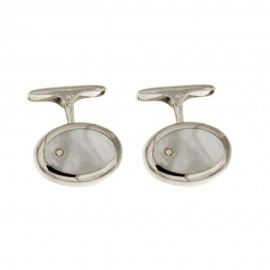 White gold 18K oval Cufflinks, with mother of pearl and 0,02ct brilliant - whale backing