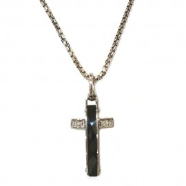 18K White gold man necklace with cross and diamonds