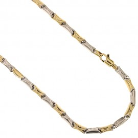18K 750/1000 Yellow and white gold bar link chain man necklace