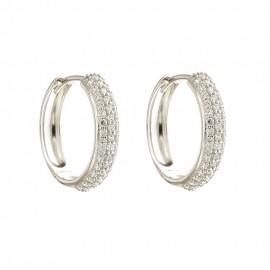 White gold 18k - 750/1000 cubic zirconia hoop earrings