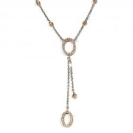 Collana in oro bianco e rosa 18Kt 750/1000 con zirconi bianchi e neri double face