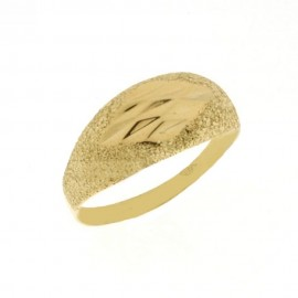Yellow and white gold 18 Kt 750/1000 polished and hard diamond cutted texture woman ring