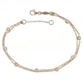 Bracciale a doppia catena in oro 18k 750/1000 con pietre bianche da donna