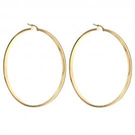 Orecchini in oro 18k 750/1000 cerchi a canna quadrata donna