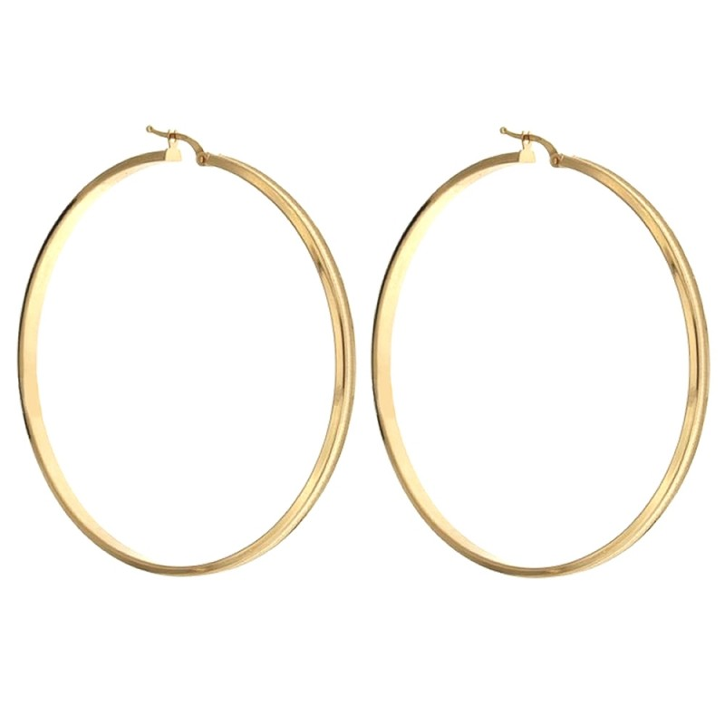 18k 750/1000 Gold squared hollow cane hoops earrings