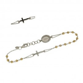 White and yellow gold 18k 750/1000 with white and black stones rosary bracelet