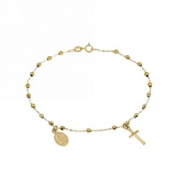 Yellow gold 18k 750/1000 with faceted spheres unisex rosary bracelet