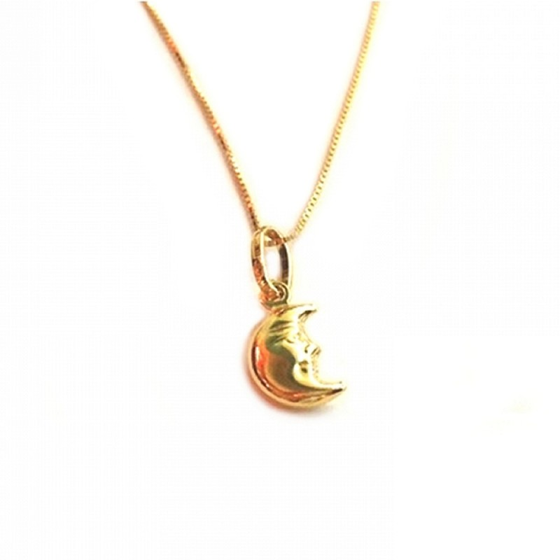 Yellow gold 18 kt 750/1000 moon pendant woman necklace