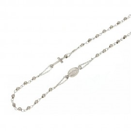 White gold 18k 750/1000 with faceted spheres rosary necklace