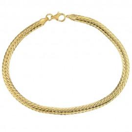 Bracciale in oro giallo 18k 750/1000 modello spiga piatta, lucido
