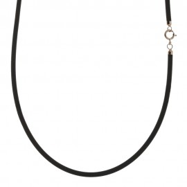 Rubber and Gold 18k 750/1000 shiny man necklace