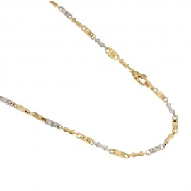 18k 750/1000 Gold hollow peanut bar link man necklace