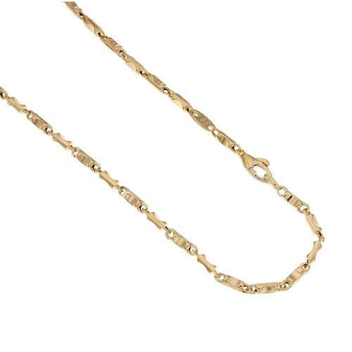 18k 750/1000 Gold hollow peanut bar link man necklace
