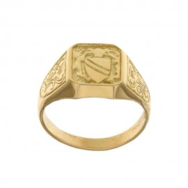 Yellow gold 18k 750/1000 shield man ring with sided decorations